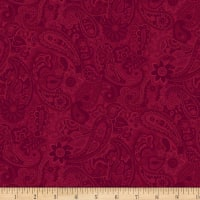 P&B Textiles Bella Suede Wide Paisley Rich Red