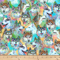 P&B Textiles Digital Silly Siberians All Over Huskies Multi