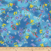 P&B Textiles Hummingbirds Flowers Blue