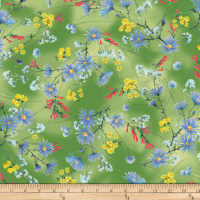 P&B Textiles Hummingbirds Flowers Green