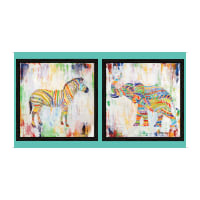 "QT Fabrics Digital Artworks XIII Rainbow Animal 24"" Panel Multi"