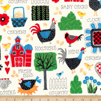 QT Fabrics Digital Count Your Chickens Barnyard Allover Cream