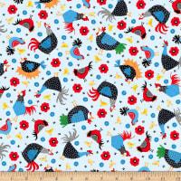 QT Fabrics Digital Count Your Chickens Chicken Toss Pale Blue