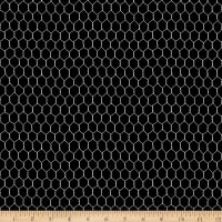 QT Fabrics Digital Count Your Chickens Chicken Wire Black