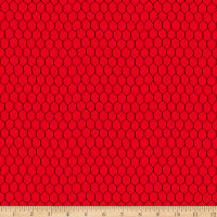 QT Fabrics Digital Count Your Chickens Chicken Wire Red