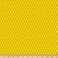 QT Fabrics Digital Count Your Chickens Chicken Wire Yellow