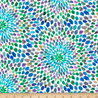 QT Fabrics Digital In The Groove Starburst Blue