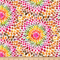 QT Fabrics Digital In The Groove Starburst Orange