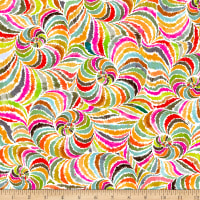 QT Fabrics Digital In The Groove Swirl Orange