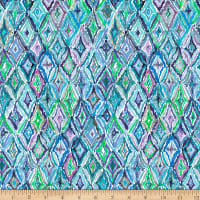 QT Fabrics Digital In The Groove Ikat5 Blue