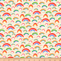 QT Fabrics Digital Jesus Loves Me Rainbows Cream