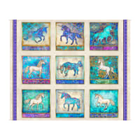 "QT Fabrics  Mystical Unicorn Patches 36"" Panel Cream"