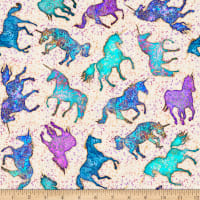 QT Fabrics  Mystical Unicorns & Stars Natural