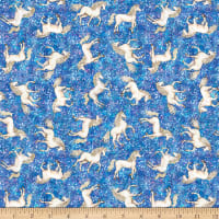 QT Fabrics  Mystical Tossed Unicorns Blue