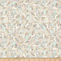 QT Fabrics  Mystical Tossed Unicorns Cream