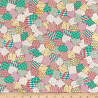 QT Fabrics Digital Animal Parade Patchwork Baby Pink