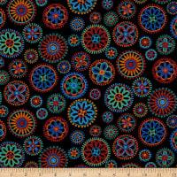QT Fabrics Digital Beaded Blooms Beaded Medallions Black