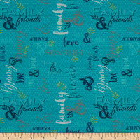 QT Fabrics Digital Circle Of Friends Family & Friends Turquoise