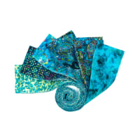 "QT Fabrics Kashmir 2 1/2"" Strip Roll Teal 12 pcs"
