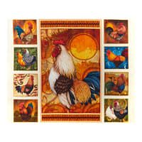 "QT Fabrics Sunrise Farms Rooster 36"" Panel Cream"