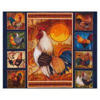 "QT Fabrics Sunrise Farms Rooster 36"" Panel Navy"