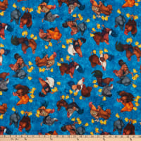 QT Fabrics Sunrise Farms Chicken Toss Denim