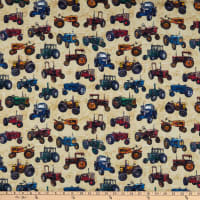 QT Fabrics Sunrise Farms Tractor Toss Dark Cream