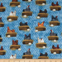 QT Fabrics Sunrise Farms Hens Nesting Chambray