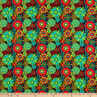 QT Fabrics Color Me Chameleon Flowers Black