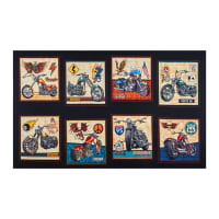 "QT Fabrics Easy Rider Motorcycle 24"" Panel Patch Black"