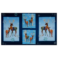 """QT Fabrics Digital First Frost Deer Patches 24"""" Panel Navy"""