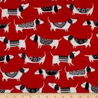 QT Fabrics Digital Hot Diggity Dogs Hot Dogs Red