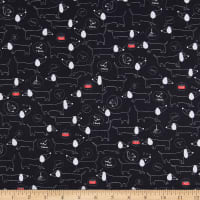 QT Fabrics Digital Hot Diggity Dogs Sketched Dogs Black