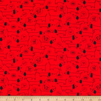 QT Fabrics Digital Hot Diggity Dogs Sketched Dogs Red