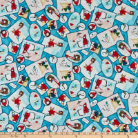 QT Fabrics Warm Wishes Winter Vignettes Patches Aqua
