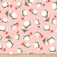 QT Fabrics Digital Warm Wishes Snowmen Light Pink
