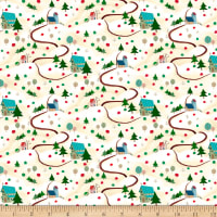 QT Fabrics Digital Warm Wishes Winter Scenic Cream