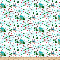 QT Fabrics Digital Warm Wishes Winter Scenic Light Aqua