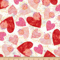 QT Fabrics All My Love Hearts & Confetti White