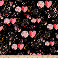 QT Fabrics All My Love Love Black