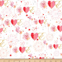 QT Fabrics All My Love Love White