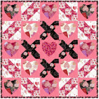 "QT Fabrics All My Love 30"" x 30"" Quilt Kit Pink/Black"