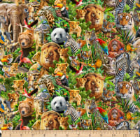 QT Fabrics Artworks XIV Packed Animals Multi