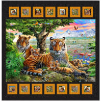 "QT Fabrics Digital Artworks XIV Tiger Quilt Kit 47"" x 48""  Multi"