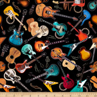 QT Fabrics Good Vibrations Guitars Black