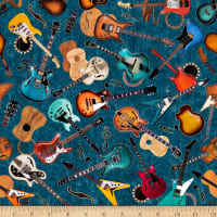 QT Fabrics Good Vibrations Guitars Teal