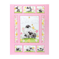 "Susybee Lal the Lamb Quilt Panel 36"" Pink"