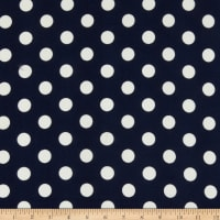 Liverpool Double Knit Large Polka Dot Navy/Ivory
