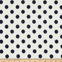 Liverpool Double Knit Large Polka Dot Ivory/Navy