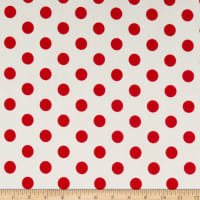 Liverpool Double Knit Large Polka Dot Ivory/Red